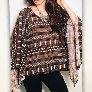 Tops - 🐿Brown geo🐿 tribal pattern blouse