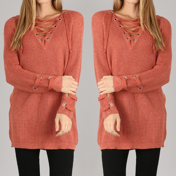 40% off Sweaters - Lace Up Tunic Sweater - Rust from ! dixie ...