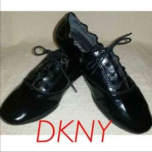 DKNY Shoes - DKNY Patent Leather Black Lace Flats