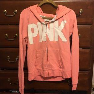 PINK Victoria's Secret Tops - Victoria's Secret Pink💋Hot Coral zip hoodie L