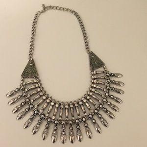 Silver colored Bib Necklace