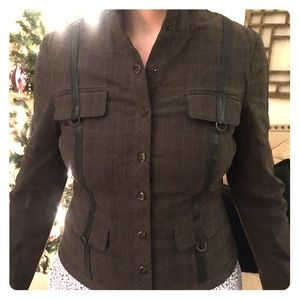 Army green plaid and leather jacket.