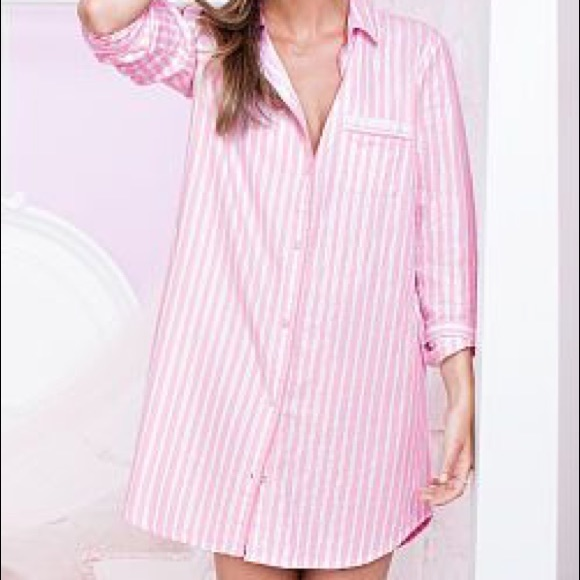 157a7e0d53795 Victoria's Secret L Pink Button Down Sleep Shirt