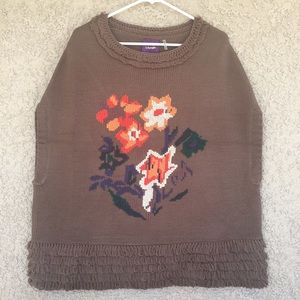 Sweaters - Floral Front design poncho sweater