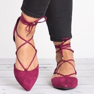 Berry Daisy Lace Up flats