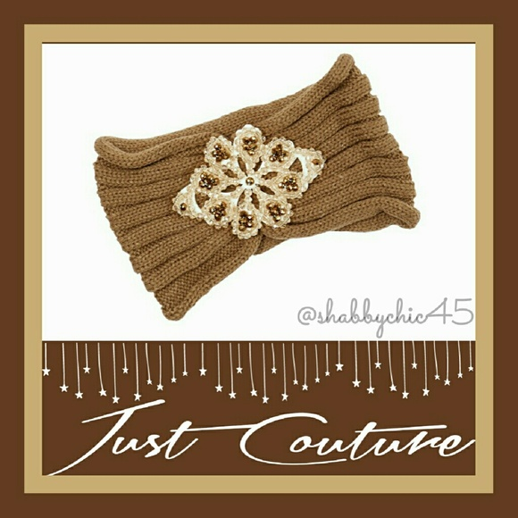 Just Couture Accessories - *HP*Beautiful Mocha & Gold Beaded Head Wrap