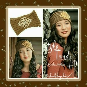 *HP*Beautiful Mocha & Gold Beaded Head Wrap
