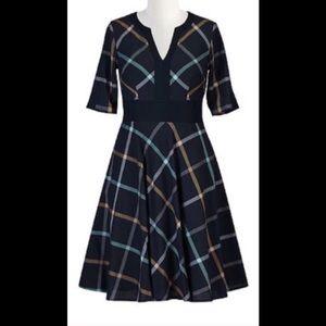 New Eshakti Navy Plaid Fit & Flare Dress M 10