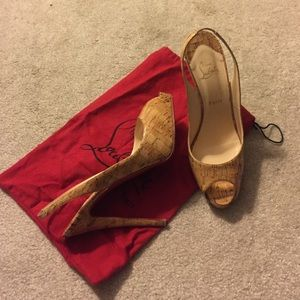 Authentic Christian Louboutin Cork Slingbacks