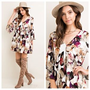 JUST IN👑Floral Babydoll Button Down Dress