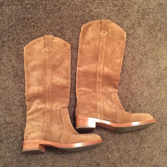 b23f1eee98d Via Spiga Gillian Cashew Suede High Shaft Boot. M 585b4fa56802785d66029b96