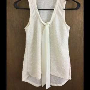 Lily White Tops - Pretty off white tie front tank top