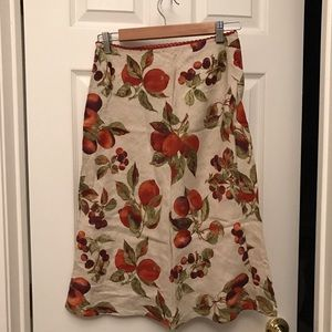 Beige fruit peaches skirt medium