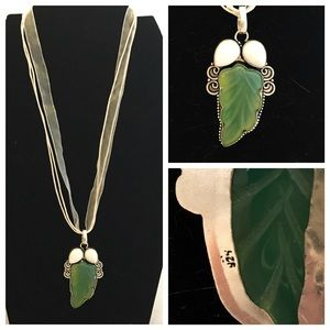 Jewelry - Carved Leaf & White Opal Silver Pendant