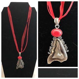 Jewelry - Brown Solar Quartz & Coral Silver Pendant