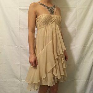 BCBGMaxAzria Silk Vanilla Joyce Jewel Party Dress