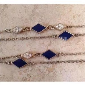 """Jewelry - GOLD & BLUE ENAMEL NECKLACE W/ CRYSTALS 29"""""""