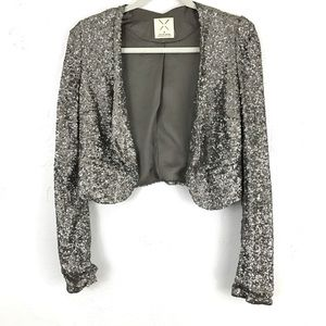 Pins & Needles Jackets & Blazers - Sequin Cropped Tuxedo Jacket