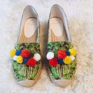 Floral Espadrilles w/ Poms