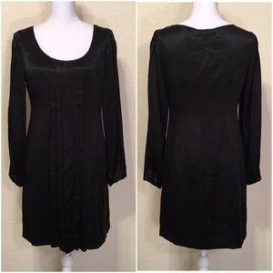 INC Black Silk Long Sleeve Pleated Dress