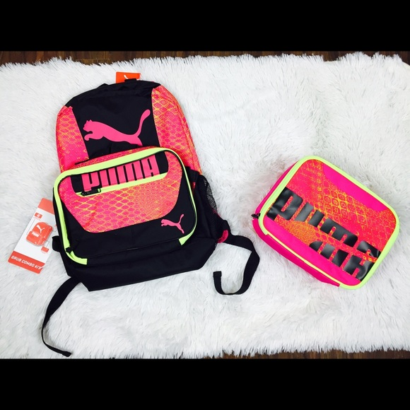 PUMA Pink Neon Backpack and Lunch Box Combo 0a509d4ac9cd5