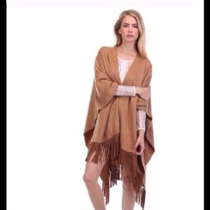 Tea n Cup Sweaters - Camel fringe poncho sweater