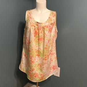 Pink and green splatter tank Anne Klein size large