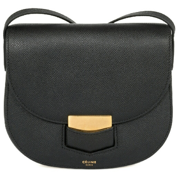 6fc9185f64b9 Celine Trotteur Small Black Grained Leather