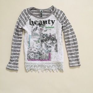 Beautees Other - Girls lace bottom graphic top