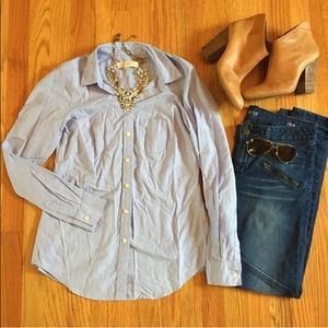 Ann Taylor LOFT blue Oxford Button Down XS