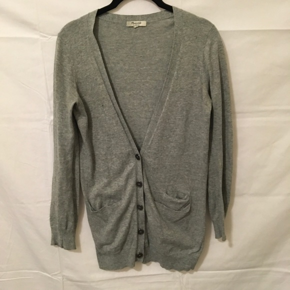 72% off Madewell Sweaters - Madewell Grey Cotton Button Down ...