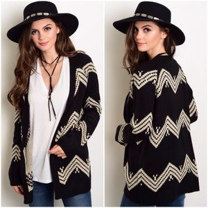 S Rosebud Fashions Sweaters - 🎁Black and Ivory Knit Open Cardigan