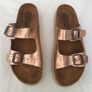 Jeffrey Campbell Metallic Platform Sandals size 40