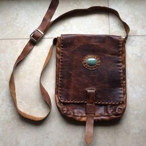Vintage 80's stone inlay leather crossbody bag