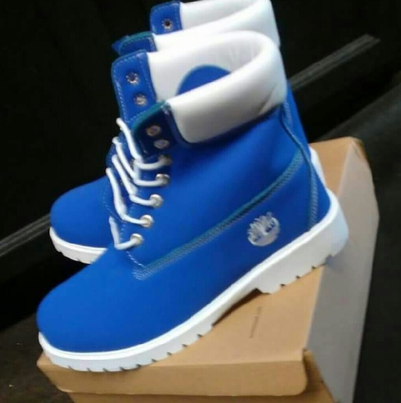 blue and white timbs