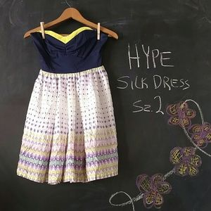 Hype Dresses & Skirts - Hype Silk Strapless Dress Sz 2 Purple White Yellow