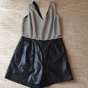 RED Striped and Pleather Romper.