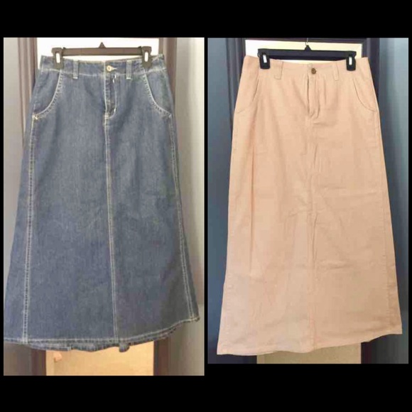 2 Modest Cato Denim And Khaki Long Maxi Skirts