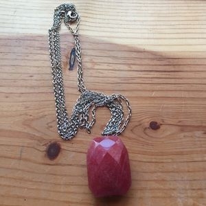 Red faceted multi layered chain necklace