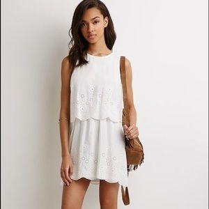 Forever 21 white layered eyelet dress