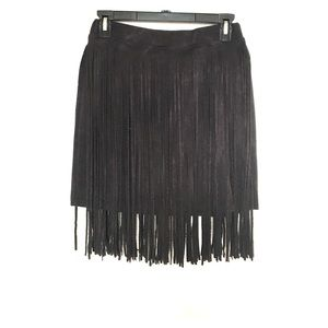 Black Suede Fringe Mini Skirt