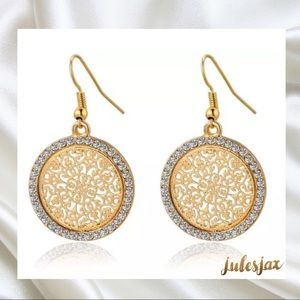 Jewelry - Austrian crystals /gold plated medallion earrings