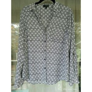 The Limited Tops - Patterned button front collared blouse