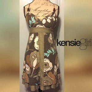 Kenzie  Dresses & Skirts - KENSIE GIRL Cute Brown/Beige Flower Pleated Dress