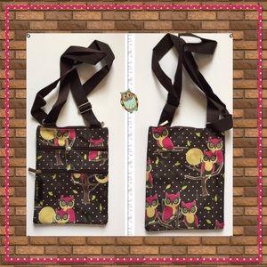 Boutique Handbags - Owl Print Cross Body Bag