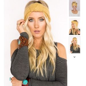 Three Bird Nest Accessories - Knitted Turband Headband in Mustard