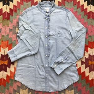 GAP Fitted Boyfriend Chambray Shirt with Ruffles!