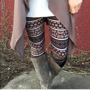 Soft Brushed Knit Mixed Print Leggings