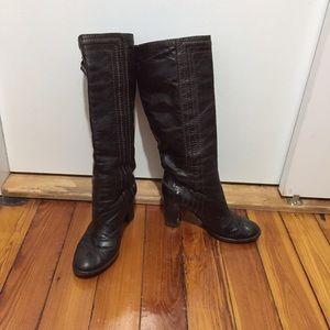Chloe Shoes - Chloe brown leather block heel knee high boots