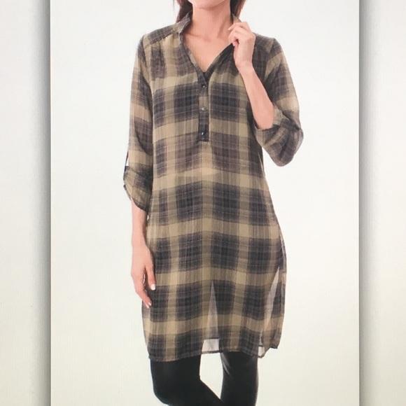 🍨Blue/tan🍨plaid leggings sheer blouse